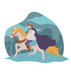 Handsome prince on white horse fairy tale vector