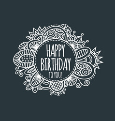 Happy birthday circle hand drawn vector