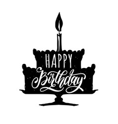 happy birthday to you hand lettering phrase vector image