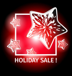 Holiday sale banner with luminous dynamic stars vector