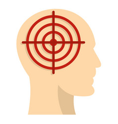 Human head with red crosshair icon isolated vector