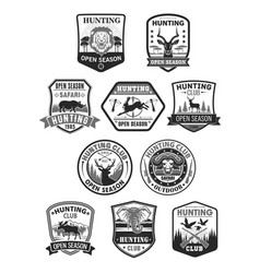 Hunting club or hunt open season icons set vector