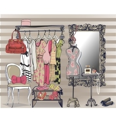 interior with women wardrobe vector image