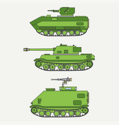 Line flat color icon set infantry assault vector