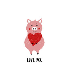 Love card with cute piggy vector
