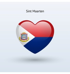 Love Sint Maarten symbol Heart flag icon vector
