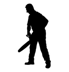 Lumberjack with chainsaw silhouette man with saw vector