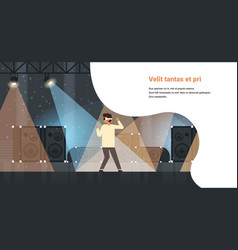 man dancer wear virtual reality glasses dancing on vector image