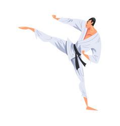 Man karateka doing side leg kick male karate vector