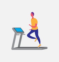man running treadmill cartoon character sport male vector image