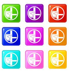 Map navigation icons 9 set vector