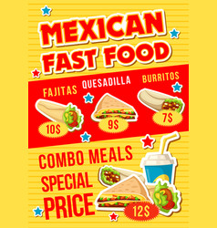 Mexican fast food restaurant combo meal vector