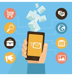 mobile app - email marketing and promotion vector image