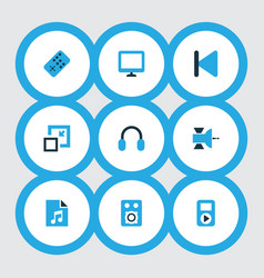 Multimedia icons colored set with amplifier vector