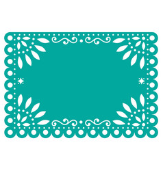 Papel picado template design in turquoise vector