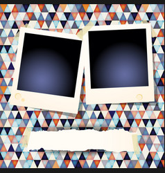 photo frames and banner on abstract background vector image
