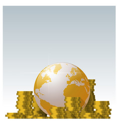 Piles of coin and golden world globe background vector