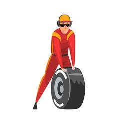 Pit stop crew member changing tire wheel vector