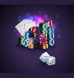 poker stack of poker chips vector image