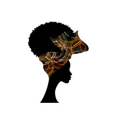 Portrait african woman wears fashion bandana vector