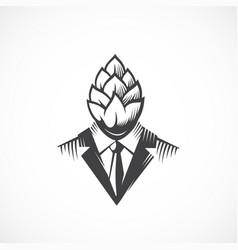 Premium quality beer hops label logo vector