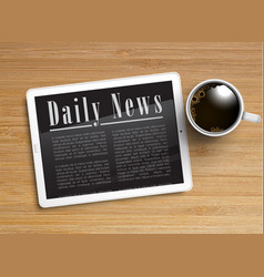 realistic newspaper with a tablet and a cup of vector image