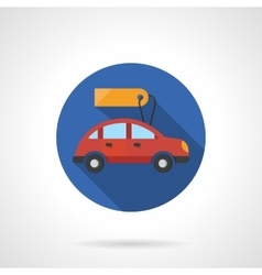 Red automobile with label flat color icon vector image