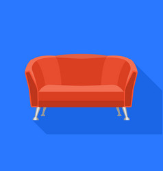 red cover sofa icon flat style vector image