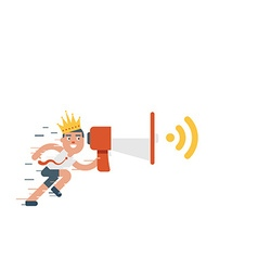 running businessman holding megaphone with crown vector image