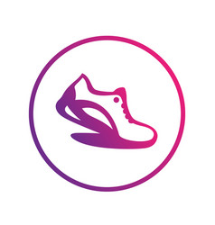 Running icon logo element shoe in circle vector