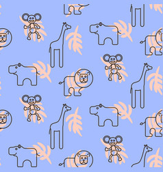 Safari zoo animals kid seamless pattern vector