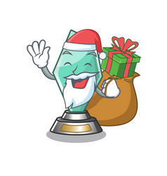 Santa with gift acrylic trophy stored in cartoon vector
