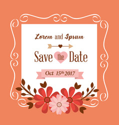 save the date flowers frame decoration vintage vector image