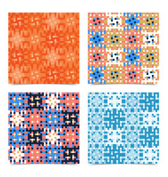 set abstract multicolored pixels squares textured vector image