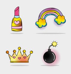 set lipstick and rainbow with clouds and bomb vector image