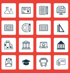 Set of 16 school icons includes graduation home vector