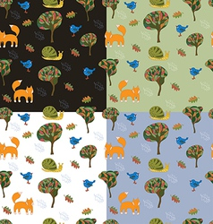 set of 4 seamless patterns with cute forest vector image