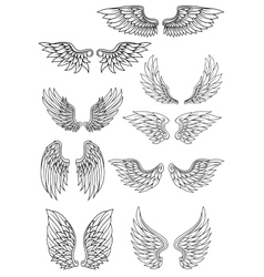 Set of outline heraldic wings vector image