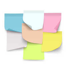 set of sticky color notes sheets of paper with vector image