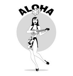 sexy pinup girl playing ukelele under palm trees vector image