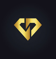 Shape diamond gold logo vector