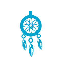 silhouette cute dream catcher with feathers design vector image