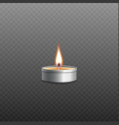 Small burning prayer candle with realistic fire vector