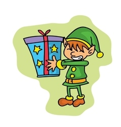 Small elf with gift Christmas character vector