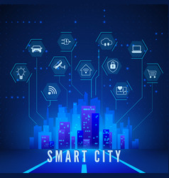 smart city landscape and system monitoring and vector image