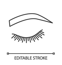 Soft arched eyebrow shape linear icon vector