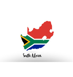 South africa country flag inside map contour vector