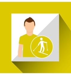 Sport man concept skiing icon design vector