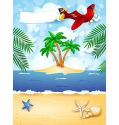 summer background with airplane and blank banner vector image
