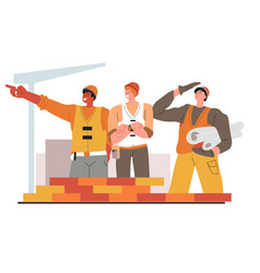 team builders with schemes and drafts vector image